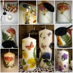 dried flower pressed candle