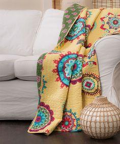 Yellow Adrianne Dual-Sided Throw Blanket