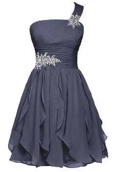 Ellames Short One Shoulder Bridesmaid Chiffon Prom Homecoming Dresses * This is an Amazon Affiliate link. Click image to review more details.
