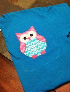 Adult Monogrammed Owl Tshirt Pocket Tee by PinkMustache1 on Etsy