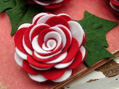 Wool Felt Flowers - Peppermint Twist by Amy of AMarketCollection on Etsy