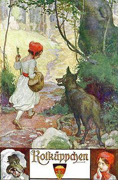 art, illustration, // Little Red Riding Hood vintage German postcard. Little Red Ridding Hood, Red Riding Hood, Charles Perrault, Vintage Fairies, Fairytale Art, Red Hood, Children's Book Illustration, Book Illustrations, Beatrix Potter