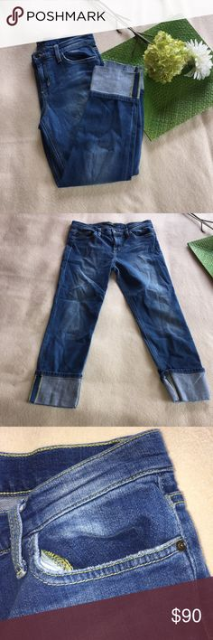 JOE'S JEANS | cuffed cropped skinnies Feel free to make an offer!  Shows some wear on pockets as pictured.  Cuffs are sewn to stay in place. Joe's Jeans Jeans Ankle & Cropped