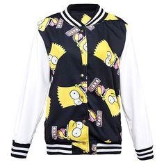 Bart Simpson Printed Contrast Baseball Jacket ($37) ❤ liked on Polyvore featuring outerwear, jackets, black, studded jacket, pattern jacket, stripe jacket, striped jacket and print jacket