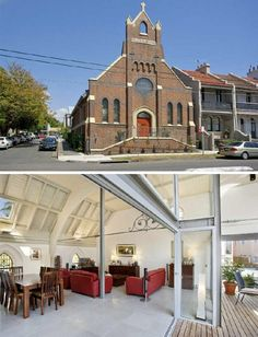 Recently resold in Sydney, Australia, this large corner church looks quite ordinary on the outside but hides a modern house,, chic baths and a commercial marble kitchen within. A pair of alfresco terraces match soaring cathedral ceilings, held up by thin steel members and existing structural ele ...