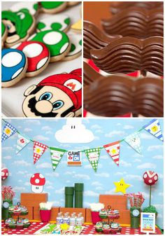 Mario Gamer Party with TONS of ideas via Kara's Party Ideas Super Mario Birthday, Mario Birthday Party, Super Mario Party, 1st Birthday Parties, Boy Birthday, Fiesta Baby Shower, Baby Shower Parties, Party Fiesta, Video Game Party