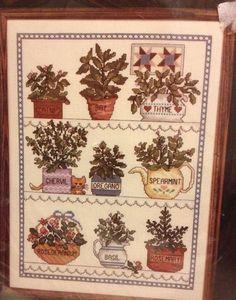 Janlynn Counted Cross Stitch Kit Herbal Window New Plant Catnip Spearmint Basil #Janlynn