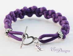 Arnold Chiari Domestic Violence ADD Crohn's Adoption Hidradenitis Suppurativa Bullying Purple Ribbon Awareness 550 Paracord Charm Bracelet