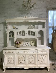 Painted Cottage Prairie Chic One of a Kind Vintage China Display Cabinet CC2004 Painted Cottage, Shabby Cottage, Cottage Chic, Vintage Buffet, Vintage China, Shabby Chic Shelves, China Cabinet Display, Chair Pictures, Glass Knobs