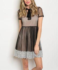 Black & Tan Lace-Hem Sheer-Overlay Dress