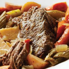 Pot Roast. One of those dinners that's a lifesaver, right? Cook it while you sleep and reheat it at dinner time.