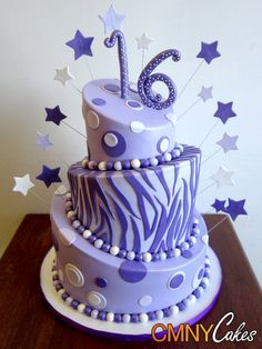 Purple Zebra Cakes with frosting | Three Tiered Sweet 16 Cake With Lavender and Purple