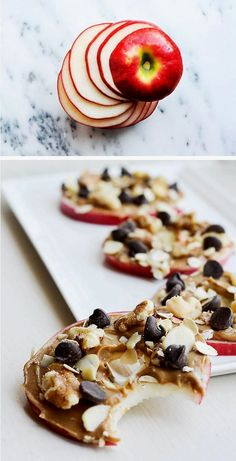 """Marvelous Curb a sweet tooth with these yummy apple """"cookies."""" No cooking required! The post Curb a sweet tooth with these yummy apple """"cookies."""" No cooking requir… appeared first on Recipes . Good Healthy Recipes, Healthy Desserts, Healthy Drinks, Gourmet Recipes, Cookie Recipes, Nutrition Drinks, Healthy Meals, Snacks Recipes, Savory Snacks"""