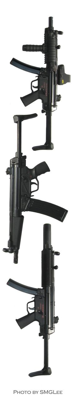SMGLee's HK MP5, HK53C and MP5SD. All with stocks extended.