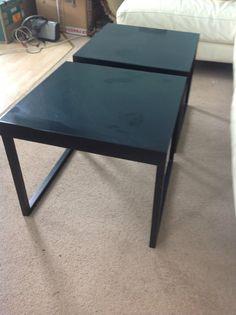 HABITAT Black metal side tables x 2 | eBay