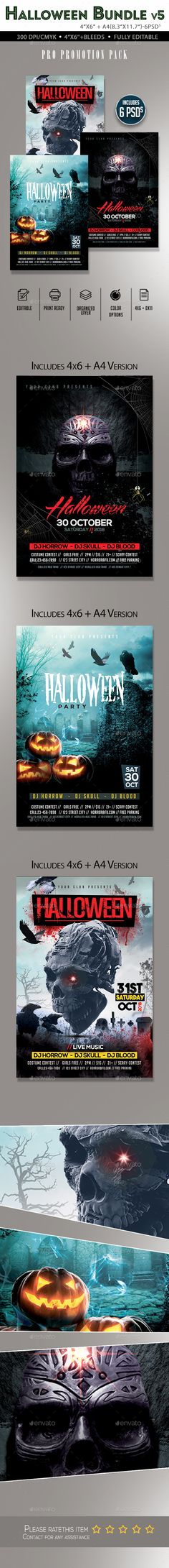 Halloween Flyer Template PSD Bundle