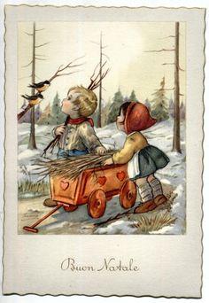 Serie Completa di 6 cartoline Bambini Bosco Buon Natale PC Circa 1940