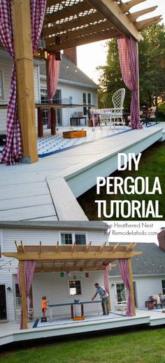Make your backyard deck even more amazing this summer with this custom DIY pergola. Tutorial from The Heathered Nest on Hinterhofdeck DIY Pergola Tutorial: How to Build Your Own Backyard Shade Diy Pergola, Retractable Pergola, Pergola Canopy, Pergola Swing, Deck With Pergola, Outdoor Pergola, Cheap Pergola, Wooden Pergola, Covered Pergola