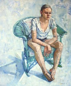 """Mary Beth McKenzie - """"Ivy (green wicker chair)"""" 2012. Oil. 64 x 48 inches."""
