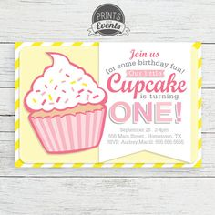 Our Little Cupcake Birthday Invitation First by PrintsForEvents