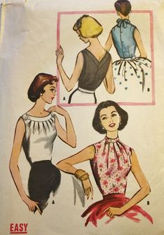 Vintage Sewing Pattern 1950s Misses Fitted by BluetreeSewingStudio, $24.00 - women with blouse, black white blouse, floral blouse short sleeve *sponsored https://www.pinterest.com/blouses_blouse/ https://www.pinterest.com/explore/blouse/ https://www.pinterest.com/blouses_blouse/sleeveless-blouse/ https://www.windsorstore.com/category/Tops-Blouses