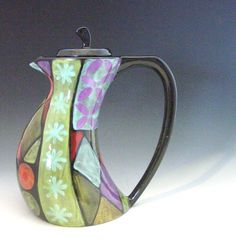 Tea Pot - Holiday Patchwork Funky Teapot -  Colorful Handpainted Pottery for Holiday Serving Kitchen Decor Gifts  HPW-369