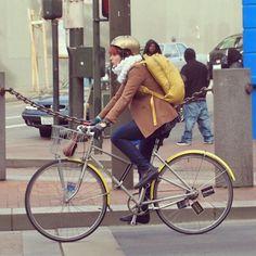 bikepretty, bike pretty, cycle style, cycle chic, bike model, girl on bike, bike fashion, cute bike, vintage, brick, vintage bike, 2wheels2feet, gold helmet, cool helmet