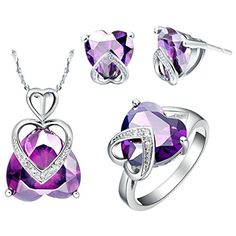 Virgin Shine Platinum Plated Rhinestones Symmetry Hearts Jewelry Sets Purple - http://fashion.designerjewelrygalleria.com/jewelry-sets/platinum-sets/virgin-shine-platinum-plated-rhinestones-symmetry-hearts-jewelry-sets-purple/