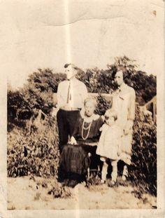 Photograph Snapshot Vintage Black & White: Family Dress Girl Yard 1920's