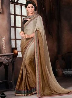 Imposing Brown And Grey Shaded Satin Jacquard Sequins Work Designer Sarees http://www.angelnx.com/Sarees/Party-Wear-Sarees