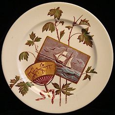 Antique TALL SHIP Aesthetic Movement Plate 1893