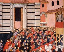 Sano di Pietro - Prediche di san Bernardino davanti a San Francesco, dettaglio - tempera su tavola - 1448 -  Siena, Museo dell'Opera