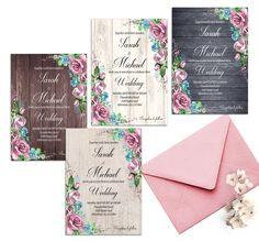 Rustic Wedding Invitation Printable Set Dusty Blue Blush Pink Rose Wedding  Boho Wedding Invitation Country Wedding Romantic Floral Wedding by DigitalDreamsFoundry on Etsy