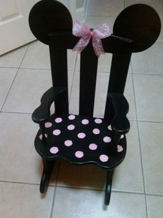 Child's rocking chair #Minnie#Mouse inspired DIY by ME <3