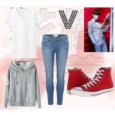 V ideal type by shinee-panda on Polyvore featuring polyvore fashion style Uniqlo Paige Denim Converse