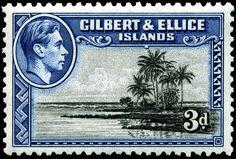 Stamp Gilbert Ellice Islands 1939 //Stamp with portrait of King George VI, 1939 Vanuatu, Commonwealth, Royal Mail Stamps, Postage Stamp Art, King George, Love Stamps, Vintage Stamps, British Colonial, Stamp Collecting