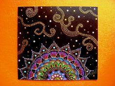 albalí: SU MASONITE hand painted pointillism mandala art tiny dot point to point