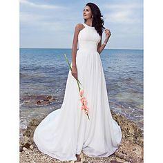 Lanting+noiva+uma+linha+petite+/+mais+tamanhos+de+casamento+vestido-sweep+/+escova+de+trem+jóia+chiffon+–+EUR+€+97.99