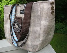 Large tote bag made from recycled men's suit coat by LilyWhitepad, $95.00