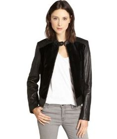 Andrew Marcblack fur and leather 'Sadie 20' long sleeve jacket