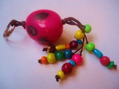 Tagua Nut and Acai Seeds Keychain by IngridFonseca on Etsy, $12.00