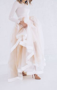 Pale peachy pink tulle skirt