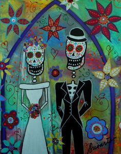 WEDDING COUPLE dia de los muertos. Check out paintings for auction on Ebay, search for PRISARTS