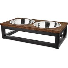 Harmony Elevated Dog Bowl Double Diner, 3 Cup, Medium Elevated Wood Dog Bowl Dinner from Harmony Helps pet maintain better posture while eating Includes 2 dishwasher-safe stainless steel bowls Non-skid rubber feet help keep diner in place Elevated Dog Feeder, Elevated Dog Bowls, Raised Dog Bowls, Dog Bowl Stand, Wood Dog, Pet Feeder, Wild Bird Food, Dog Store, Dog Feeding