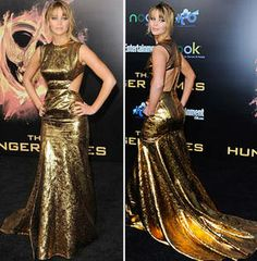 Jennifer Lawrence in a Gold Prabal Gurung Dress at the Hunger Games Premiere in Los Angeles on March 12, 2012