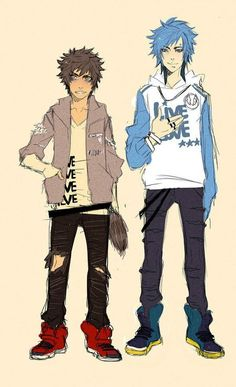 Mordecai and Rigby as Humans<< I don't like regular show but this looks awesome.