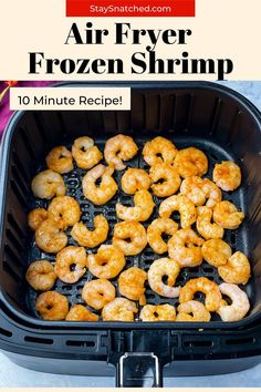 This contains: frozen shrimp in air fryer Air Fry Recipes, Air Fryer Dinner Recipes, Frozen Chicken Wings, Meal Prep Guide, Frozen Shrimp, Air Fryer Healthy, How To Cook Shrimp, Everyday Food, Eating Plans