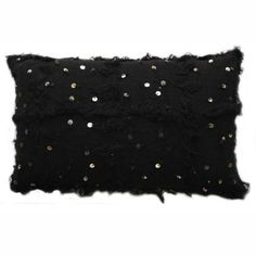 Decorative Moroccan Embroidered Black Shawl Pillow (Red Other)