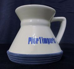 Great for Boats!  Pier 1 Imports Travel Coffee Mug Tea Cup Commuter Rubber No Tip White Blue #Pier1Imports