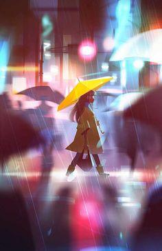 Between Dreams and Reality by Jenny Yu. #rainystreets #art #illustration #digitalart #happiness #jennyyu